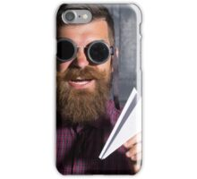 bearded man in sunglasses with a paper airplane iPhone Case/Skin