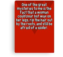 One of the great mysteries to me is the fact that a woman could pour hot wax on her legs' rip the hair out by the roots' and still be afraid of a spider. Canvas Print