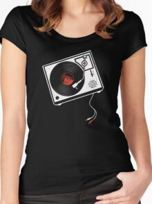 Record Player Audio Analog Vinyl Old School Music Geek Vintage Design Women's Fitted Scoop T-Shirt