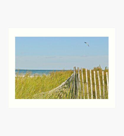 A Kite Flys Over the Sand Doons - Narragansett - RI - US Art Print