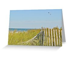 A Kite Flys Over the Sand Doons - Narragansett - RI - US Greeting Card