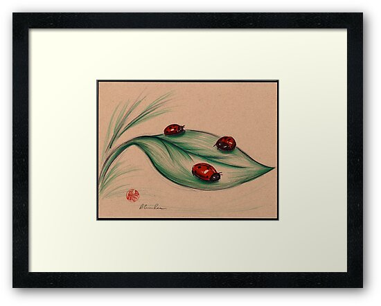 RED LADIES - Original ladybug mixed media drawing/painting by Rebecca Rees