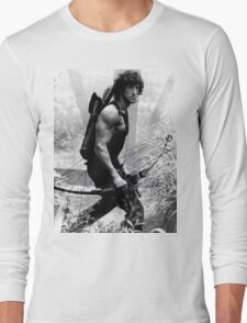 Rambo Stallone Autographed Photo B/W 1980's Long Sleeve T-Shirt