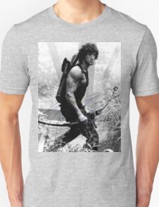 Rambo Stallone Autographed Photo B/W 1980's T-Shirt