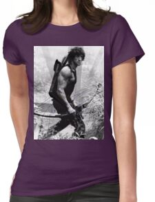 Rambo Stallone Autographed Photo B/W 1980's Womens Fitted T-Shirt