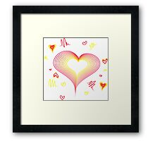 LOVE-Wireframe Warped Heart Framed Print