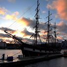 The Jeanie Johnston tall ship at sunset by Esther  Moliné