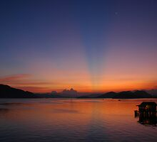 Sunset over Coron Harbour by Stephen Tapply