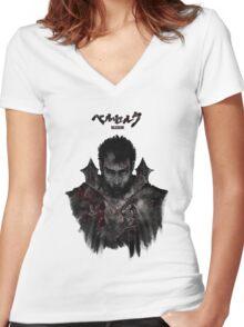 Berserk - Guts / Gattsu - The Black Swordsman Women's Fitted V-Neck T-Shirt