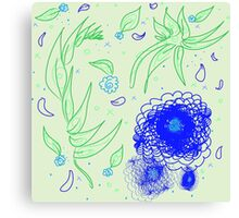 Peaceful-Blue & Emerald Floral Canvas Print