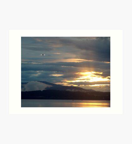 Landing at Sunset Art Print