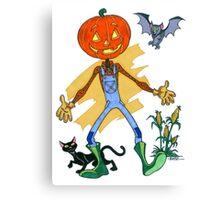 Pumpkin Scarecrow Pal Canvas Print