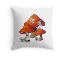 Toadstools, Gnome, and Daisies: Fantasy Art Throw Pillow