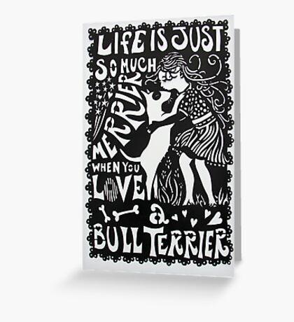 Bull Terrier Paper Cut Greeting Card