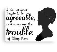 Jane Austen-inspired Quote Metal Print