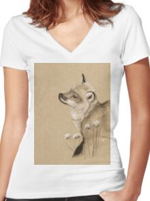Baby Fox Women's Fitted V-Neck T-Shirt