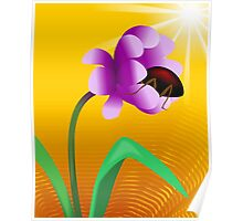 Honey tasting insect from the beautiful sun shining flower	 Poster