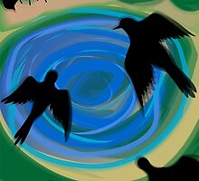 Birds flying over the pond	 by tillydesign