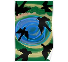 Birds flying over the pond	 Poster