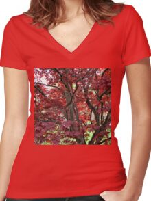 Underneath and Inside A Red Maple Women's Fitted V-Neck T-Shirt