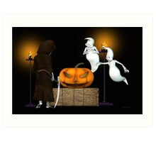 Halloween Deal .. the ghosts try to sell the pumpkin Art Print