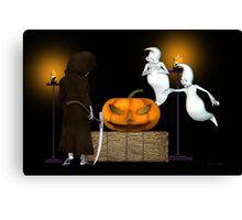 Halloween Deal .. the ghosts try to sell the pumpkin Canvas Print
