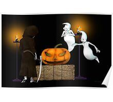 Halloween Deal .. the ghosts try to sell the pumpkin Poster