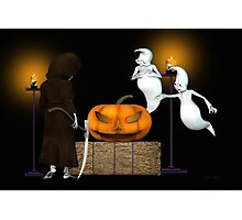 Halloween Deal .. the ghosts try to sell the pumpkin Photographic Print