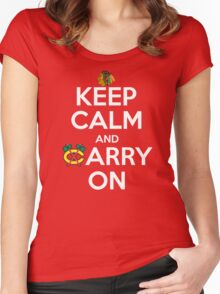 Keep Calm Carry On Blackhawks Women's Fitted Scoop T-Shirt