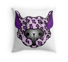Bull Terrier Leopard Pink and Purple Throw Pillow