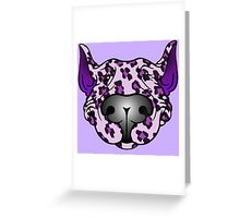 Bull Terrier Leopard Pink and Purple Greeting Card