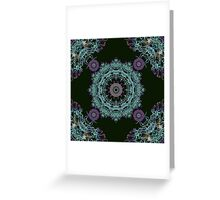 Abstract fantastic plant kaleidoscope mandala on dark green background Greeting Card
