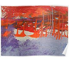 orange yachts in purple bay Poster