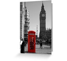 Red Telephone Box in Westminster London Greeting Card