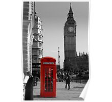 Red Telephone Box in Westminster London Poster