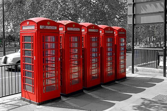 Group of Red Telephone boxes in London by chris-csfotobiz