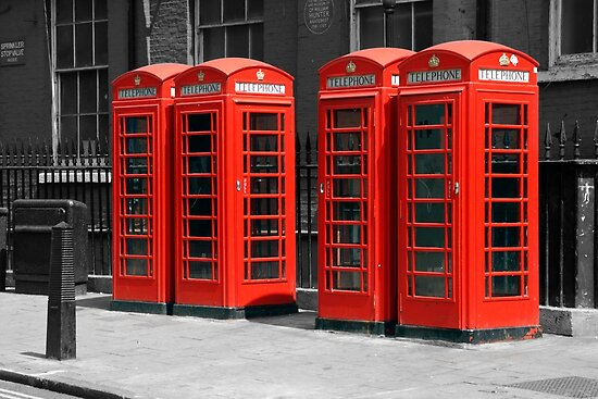 Group of Red telephone boxes London by chris-csfotobiz