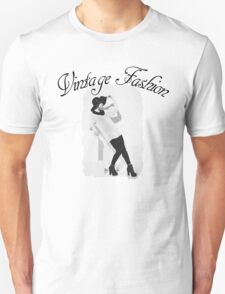 Vintage Fashion In Black And White T-Shirt