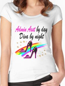 ADMIN ASSISTANT SHOE QUEEN Women's Fitted Scoop T-Shirt