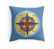 Ornate Compass Rose Throw Pillow