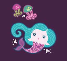 Lil' Blue Mermaid and Jellyfishes Womens Fitted T-Shirt