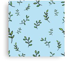 Seamless flower leaf branches on a blue background Canvas Print