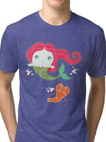 Lil' Red Mermaid and Lobster Tri-blend T-Shirt