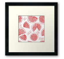 Grapefruit hand drawn red doodle seamless pattern. Framed Print