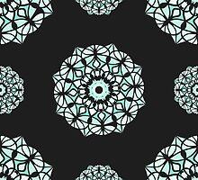 Seamless pattern / Islam, Arabic, Indian, ottoman motifs /mandala / white color on black background by sailorlun