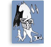 Bull Terrier Laundry Canvas Print
