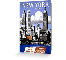 New York Vintage Travel Poster Restored Greeting Card