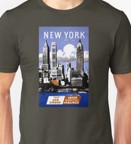 New York Vintage Travel Poster Restored Unisex T-Shirt