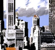 New York Vintage Travel Poster Restored Sticker