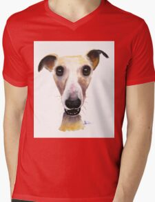 NOSEY DOG 'HOLLYWOLLY' BY SHIRLEY MACARTHUR Mens V-Neck T-Shirt